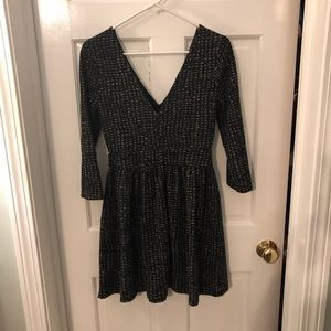 Black and gold mini dress